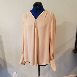 Elizabeth & James silk & leather blouse